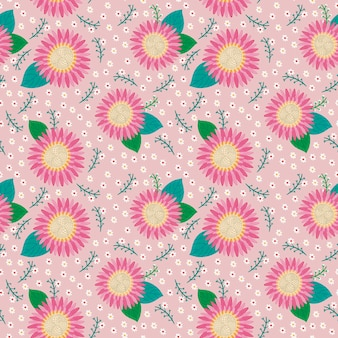 ピンクの背景に素敵なピンクの花のシームレスなパターン