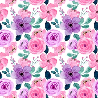 Lovely pink purple watercolor floral seamless pattern