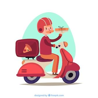 Uomo bello di consegna della pizza su scooter