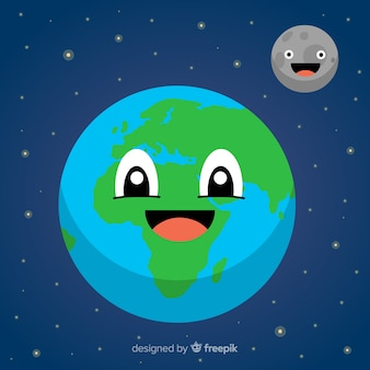 Lovely planet earth with cartoon style