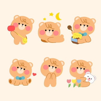 Lovely playful teddy bear simple mascot illustration asset collection