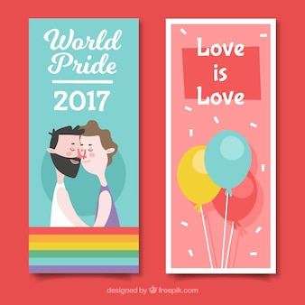 Lovely pride day banners with couple and balloons