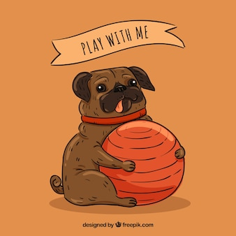 Lovely pug and ball with hand draw style