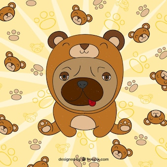 Lovely pug with bear costume