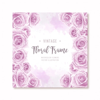 Lovely purple watercolor rose flowers frame background