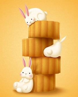 Милый кролик наслаждается лунными пирожными на фестивале середины осени