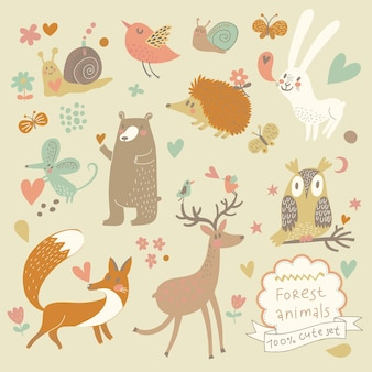 Lovely rabbits in hearts and flowers cute childish seamless pattern in cartoon style