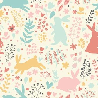 心と花の素敵なウサギ漫画風のかわいい子供っぽいシームレスパターン
