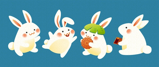 Lovely rabbits wearing pomelo hat and eating mooncakes on blue background