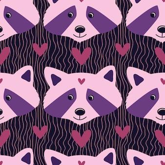 어린이 린넨 또는 잠옷 디자인을 위한 분홍색과 보라색 색상의 사랑스러운 너구리.
