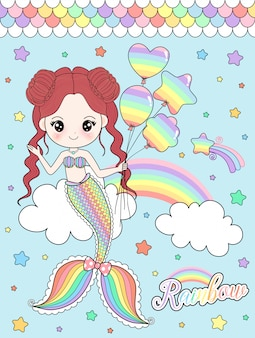 Lovely rainbow mermaid holding balloons