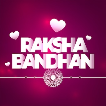 Lovely raksha bandhan purple background with hearts