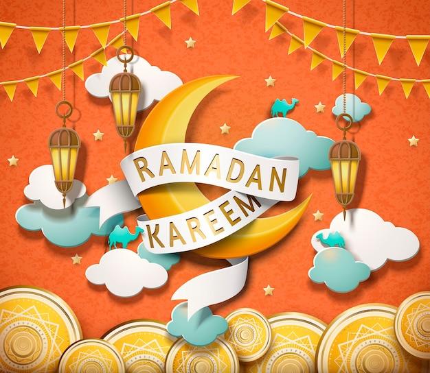 Lovely ramadan kareem design in paper art style