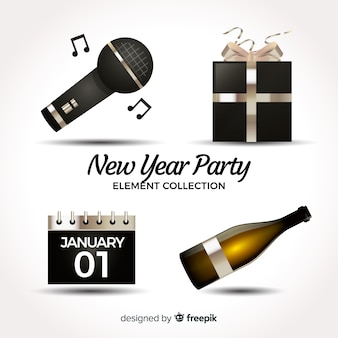 Lovely realistic new year party element collection