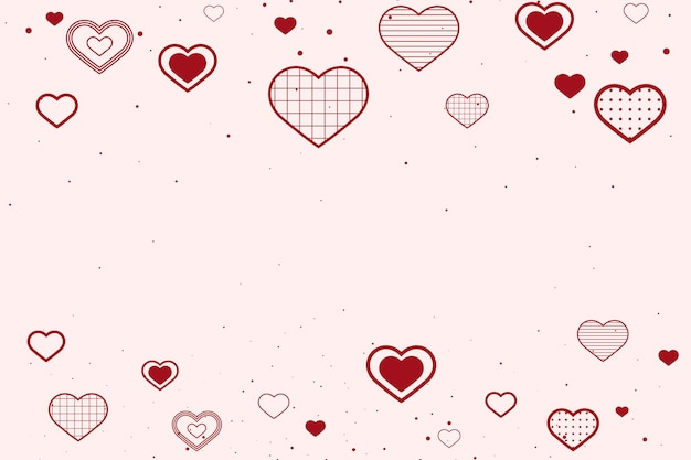 Lovely red background with borders decorated with hearts