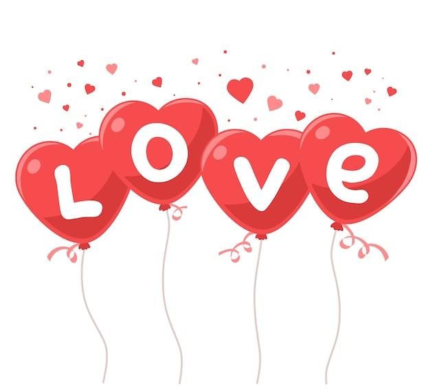Милые красные воздушные шары в форме сердечек