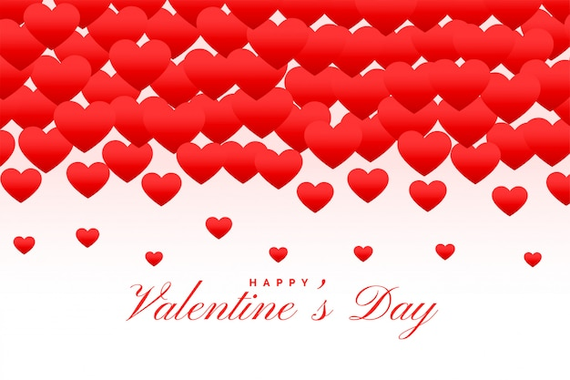 Lovely red hearts happy valentines day greeting card
