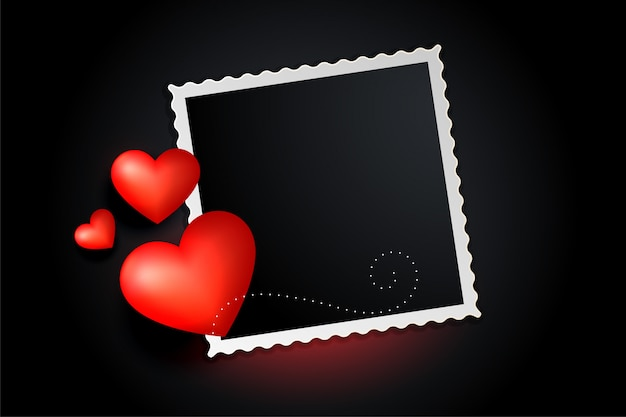 Lovely red hearts photo frame banner