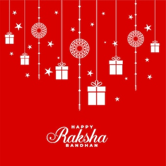 Lovely red raksha bandhan background with rakhi and gifts