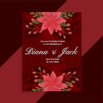 Lovely red wedding invitation floral card design