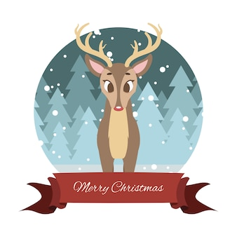 Lovely reindeer with stylized background and festive banner