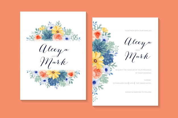 Lovely romantic wedding invitation with succulent, ranunculus, aster, blue anemone and dusty miller leaves