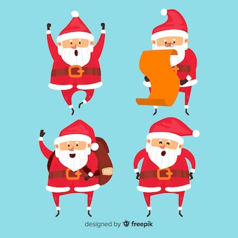 Lovely santa claus character collection with flat design
