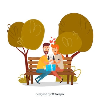 Lovely scene of couple with cute puppy in the park