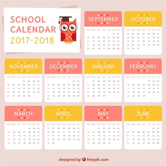 フクロウと素敵な学校のカレンダー
