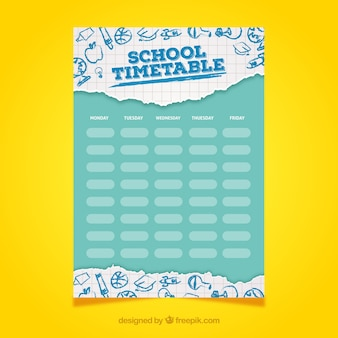 Lovely school timetable with flat design