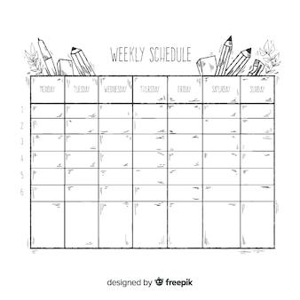 Симпатичный школьный шаблон расписания недель