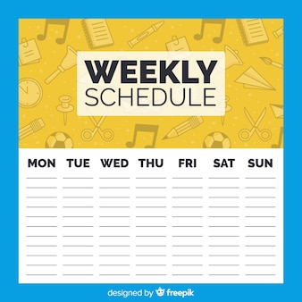 Lovely school weekly schedule template
