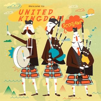 Прекрасный дизайн плаката шотландской народной музыки в плоском стиле