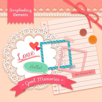 Lovely scrapbooking elements in vintage style