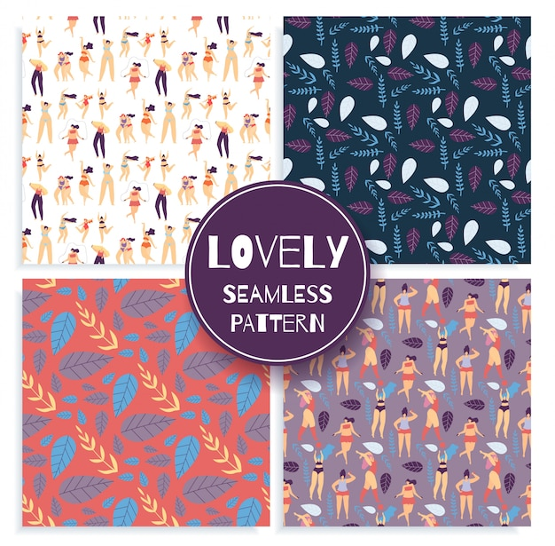 Lovely seamless pattern set iscrizione creativa