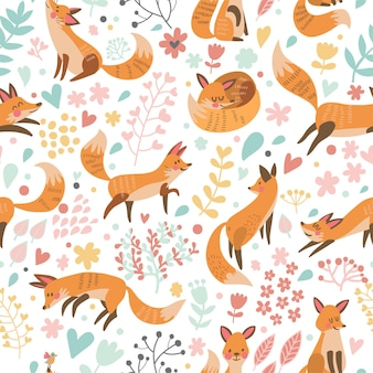 Lovely seamless pattern with cute foxes and flowers