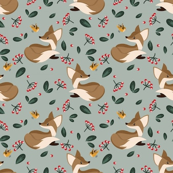 Lovely seamless pattern with cute foxes.
