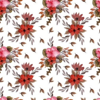 Lovely seamless pattern with vintage red rustic flowers