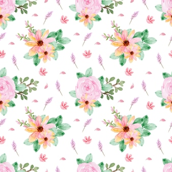 Lovely seamless pattern with yellow pink roses
