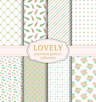 Lovely seamless patterns set.