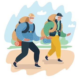 Прекрасная старшая пара смеется и разговаривает, гуляя в альпинистской одежде и снаряжении