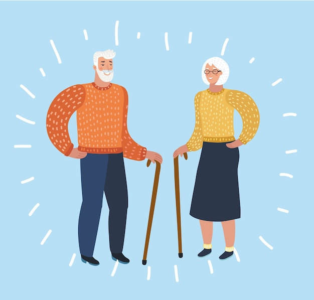 登山服や装備を身に着けて歩いて笑ったり話したりする素敵な年配のカップル