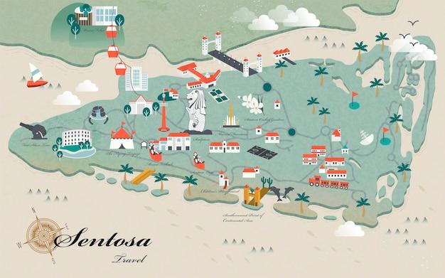 사랑스러운 센토사는 3d 아이소메트릭 디자인으로 명소 여행 지도를 봐야 합니다.