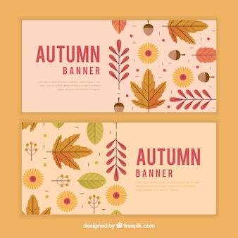 Lovely set of autumn banners with flat design