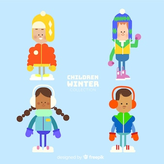 Lovely set of children with winter clothes