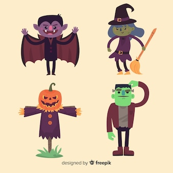 Lovely set of halloween characters with flat design