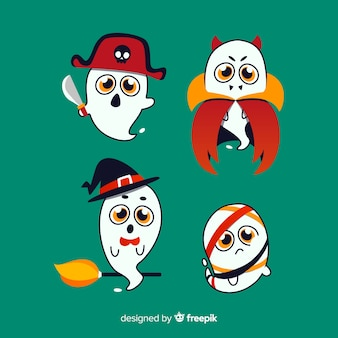 Lovely set of halloween ghosts with flat design