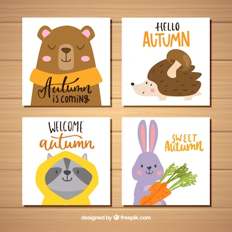 Lovely set of hand drawn autumn cards