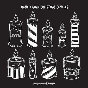 Lovely set of hand drawn christmas candles