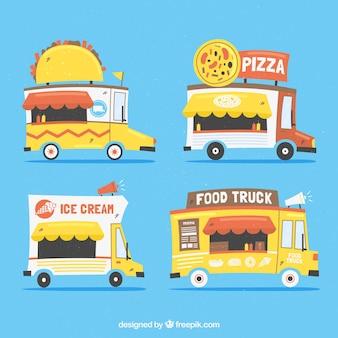 Lovely set of hand drawn food trucks